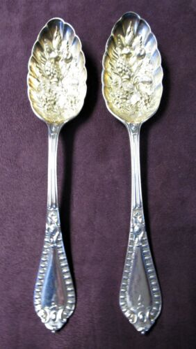 Unknown Patt. WALKER & HALL Silverplate 2 Serving Spoons Embossed Gilded Bowls