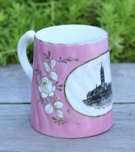 19thC PINK PORCELAIN TOURIST MUG OF TOWN HALL MIDDLESBROUGH, MADE IN GERMANY
