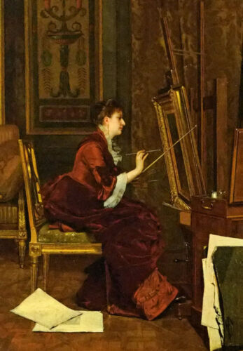 Oil painting jules adolphe goupil - the artist in her studio young lady canvas