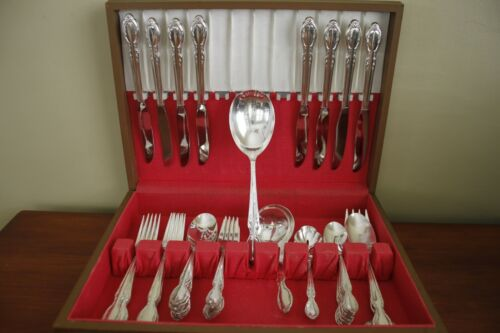 ROYAL MANOR Rogers & Bro MCM silverplate 45pc COMPLETE flatware SET for 8