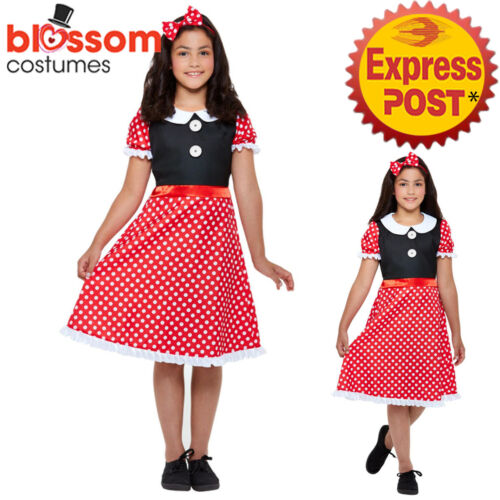 CK1703 Cute Mouse Minnie Book Week Fancy Polka Dots Dress Girls Costume Outfit