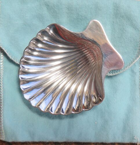 .Tiffany & Co. Sterling Silver Serving Footed Scalloped Shell Shaped Dish #22479