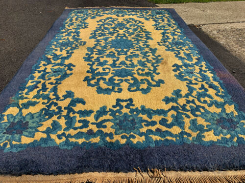 Antique Yellow color  Hand Made Peking  Chinese Rug 3x5ft