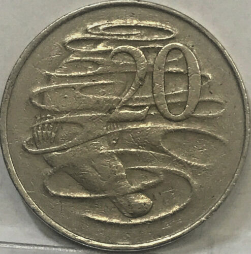 """1966 """" WAVY  2 TAIL VARIETY """" 20 CENTS VERY SCARCE, LONDON REVERSE DIE"""