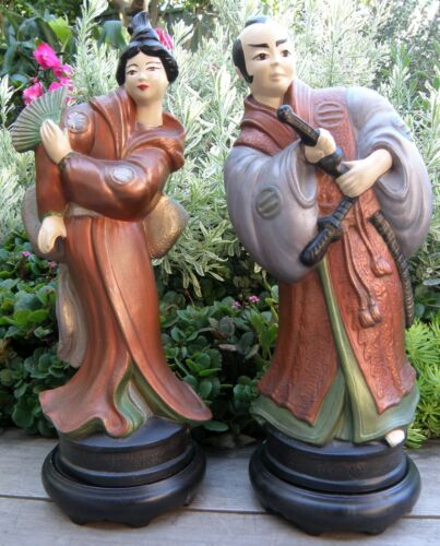 Vintage/Antique Japanese Chalk Ware Man and Woman Statues in Traditional Dress
