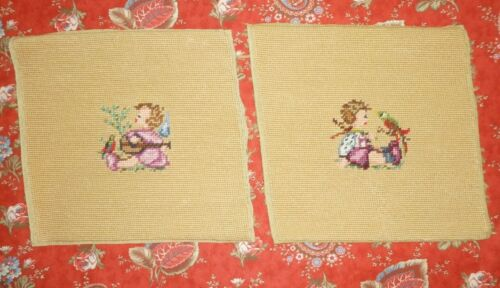 Cute Pair Antique HUMMEL Needlepoint Tapestry / Vintage Needlepoint Completed