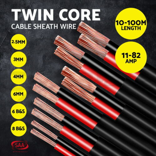 Electrical Wire Electric Twin Core Cable 6-20 AWG Gauge Caravan Extension 450V