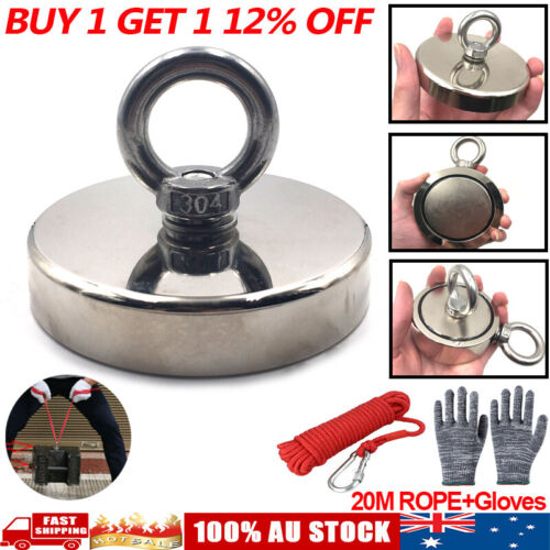 30-700Kg Salvage Recovery Magnet Neodymium Treasure Hunting Fishing & 20M Rope <br/> 100% AUSTRALIA STOCK ! FAST SHIPPING !