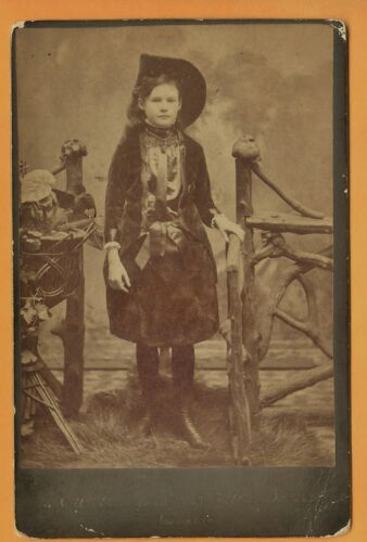 1880s Young Cowgirl Dressup  Cabinet Photo by Crawford