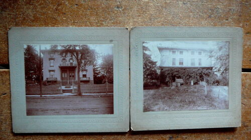 PAIR ANTIQUE CABINET PHOTO -  FRONT & BACK of 3 STORY DUPLEX - FOSTER RI 1900