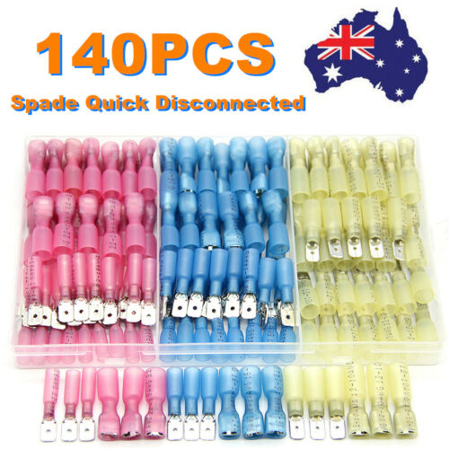140Pcs Male & Female Heat Shrink Spade Quick Disconnects Connectors Waterproof
