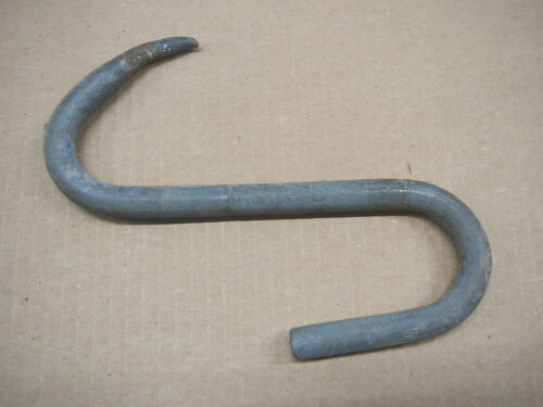 """MORRIS STAMPED NAME - ANTIQUE HEAVY 5/8"""" BUTCHERS MEAT HANGING HOOK 9"""" LONG - GD"""