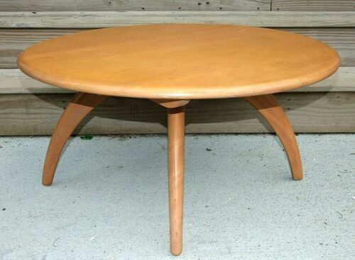 HEYWOOD WAKEFIELD Mid Century Modern Round Lazy Susan COFFEE TABLE, Champagne