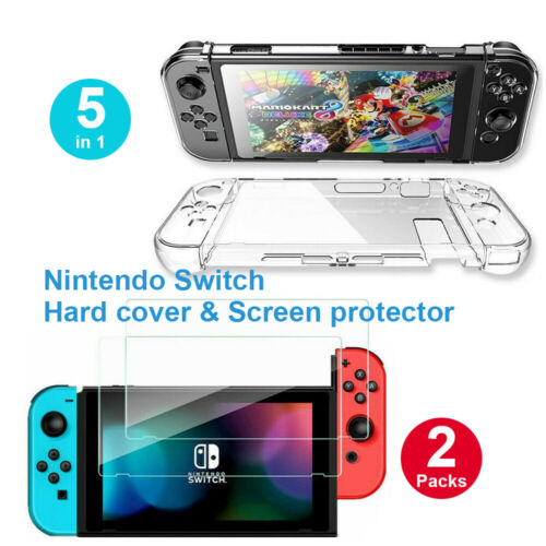 Transparent Shockproof Hard Case + 2x Clear Screen Protector for Nintendo Switch