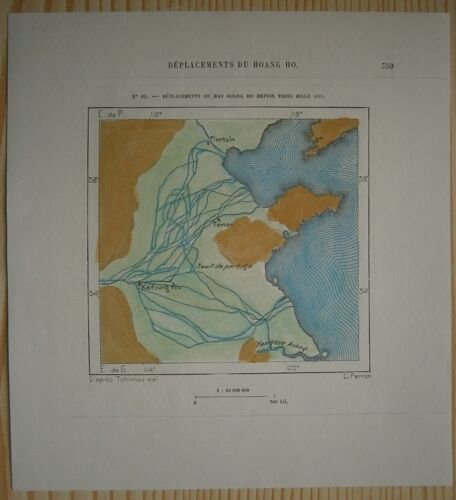 1882 Perron map DISPLACEMENTS OF YELLOW RIVER OVER 3000 YEARS, CHINA (#62)