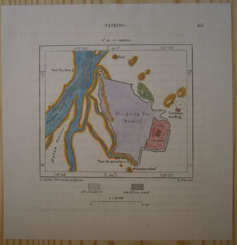 1882 Perron map NANJING / NANKING, CHINA (#82)