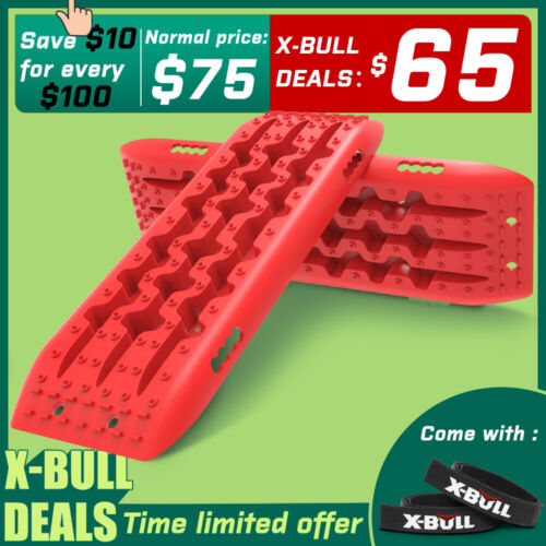 X-BULL Recovery tracks 10T Sand Mud Snow Grass Accessory 4WD 1Pair Red Gen2.0 <br/> 🎄Enjoy the Christmas price in advance🎄