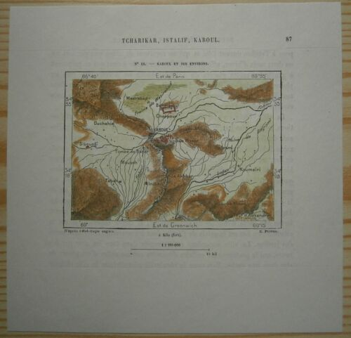 1884 Perron map KABUL AND VICINITY, AFGHANISTAN (#15)