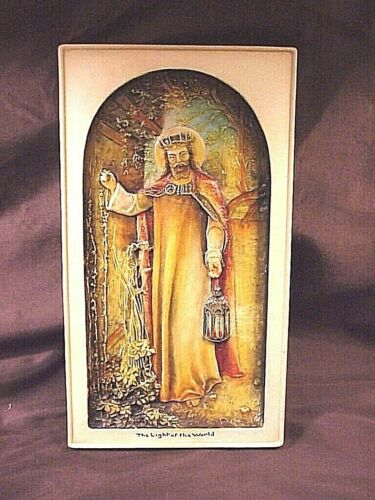 """IVOREX PLAQUE, JESUS DEPICTED AS """"THE LIGHT OF THE WORLD""""  5-1/2"""" X10"""", MINT"""