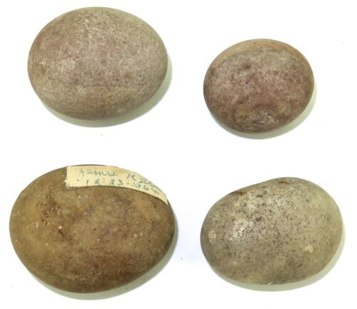 .4 ARCHAIC PALEO NATIVE AMERICAN INDIAN EGG SHAPED BOLO STONES.