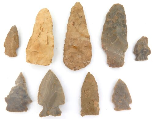.ARCHAIC PALEO NATIVE AMERICAN INDIAN KNAPPED SPEARHEADS ARROWHEADS 100% GEN. #2