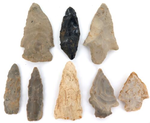 .ARCHAIC PALEO NATIVE AMERICAN INDIAN KNAPPED SPEARHEADS ARROWHEADS. 100% GEN #3