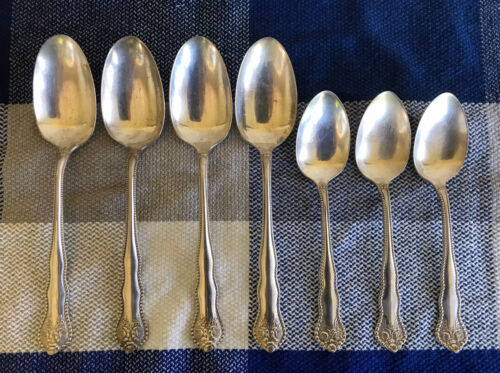 7pcs - Vtg Silverplate Beaded w Roses 4/Soup & 3/Tea Spoons Marked H 20years