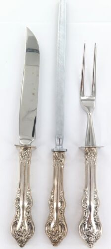 .NEAR MINT TOWLE STERLING SILVER HANDLES 3 PIECE CARVING SET.