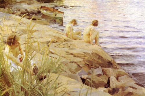 """stunning oil painting handpainted on canvas """"Bathing by river"""""""