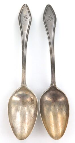 ".ANTIQUE MARY CHILTON ""PATENT 1912"" MATCHING PAIR TOWLE STERLING SILVER SPOONS."