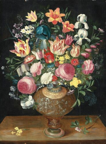 """oil painting handpainted on canvas """"A still life of flowers in a sculpted vase"""""""