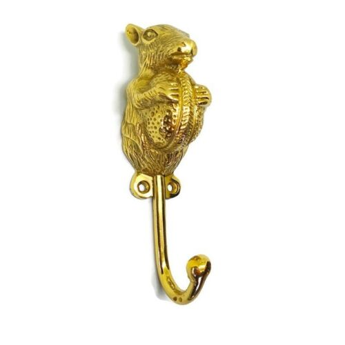 """squirrel holding NUT HOOKS solid BRASS old hook POLISHED style 6 """" B"""