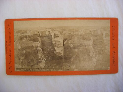 Stereo View Card - Chasm in the desert of Arizona C. W. Woodward #159