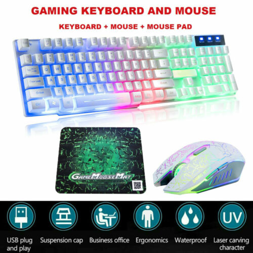 Mechanical Gaming Keyboard and Mouse Set Backlight Illuminated USB for PC Laptop