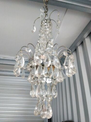 Vtg Empire Chandelier Chrome Crystal nice form needs  crystals distressed 28X12