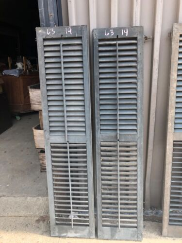 """GREAT pair vintage victorian louver house shutters blue green 63"""" x 14"""" x 1 1/8"""""""