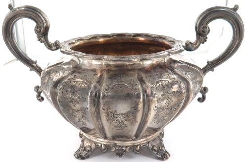 1844 ENGLISH STERLING SILVER LARGE OPEN TWIN HANDLE SUGAR / WASTE BOWL.