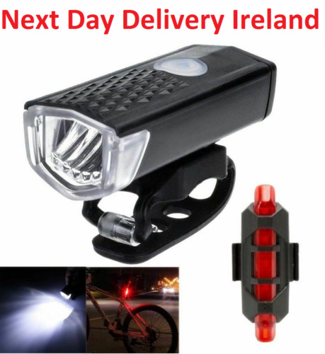 Front and Back Bike LED Lights White Red USB Rechargeable Headlamp Set