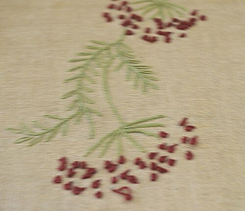 Antique Arts and Crafts Linen Embroidered Runner Pillow Cover VV643