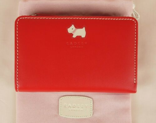 """Radley """"Small Time"""" Bifold Purse Wallet Red Leather Medium Size New"""