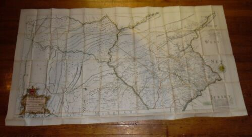 "Old / Vintage Nicholas Scull Map - 1759 Pennsylvania - 1894 Busch - 62""x32"""
