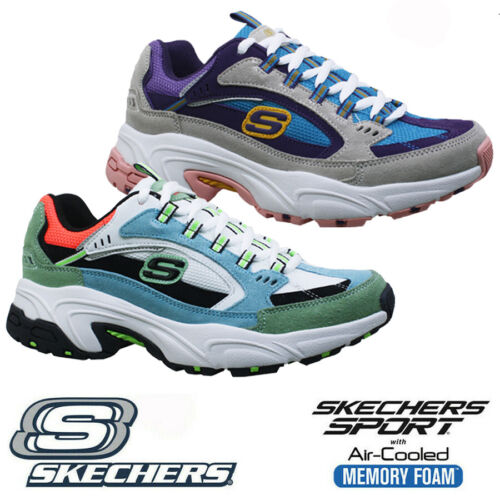 LADIES SKECHERS AIR COOLED MEMORY FOAM LEATHER FITNESS WALKING TRAINERS SHOES