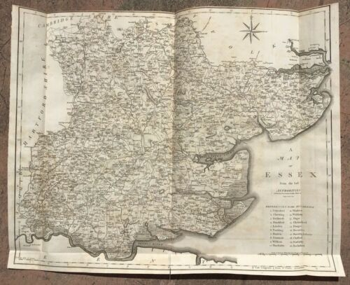 "1805 Large John Cary Map - ESSEX, England - Camden's ""Britannia""- Fine Condition"