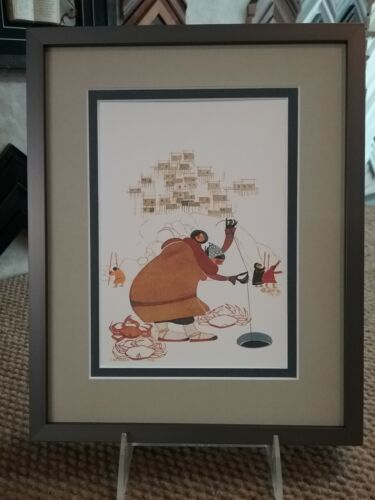 """New Custom Framed & Matted Art Card  """"FISHING FOR KING CRAB"""" by Rie Munoz"""