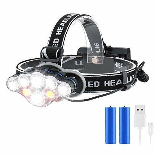 Head Torch Super Bright Headlight 18000 Lumens 8 LED 8 Modes Rechargeable Lamp <br/> Trusted Seller - Top Quality - Money Back Guarantee