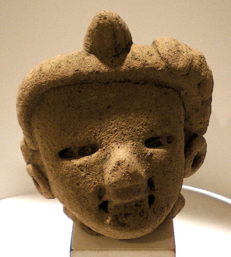 "Pre-Columbian Early Classic MAYAN CERAMIC FIGURAL HEAD 2-7/8""  Ppd/US"