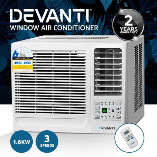 Devanti 1.6kW Window Air Conditioner w/o Reverse Cycle Wall Box Cooling Only <br/> 1.6kw Cooling Capacity / 3-Speed / Easy to Install