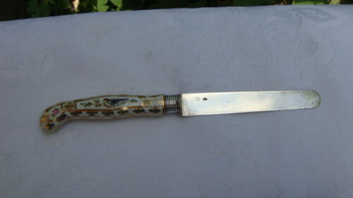 ANTIQUE FRENCH PIERRE QUEILLE CONTINENTAL SILVER AND PORCELAIN LUNCH KNIFE