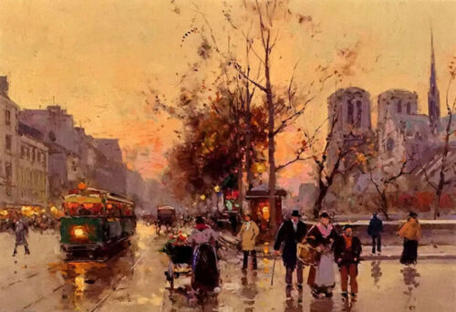 """Oil painting view of notre dame with Tram hand painted in oil on canvas 24""""x36"""""""
