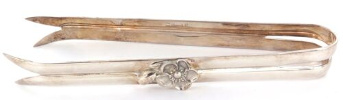""".SUPERB CONDITION / CHRISTOFLE """"ANEMONE"""" SILVERPLATE HEAVY SET ICE TONGS."""
